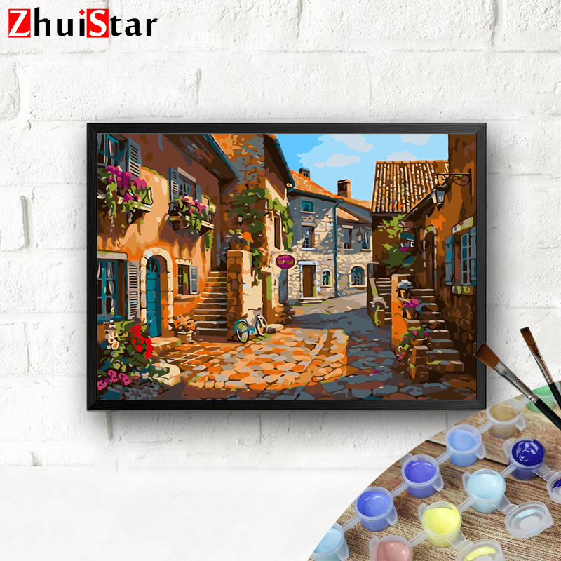 Pictures Small town By Numbers Painting HandPainted DIY Coloring Home Decoration Gift Drawing Kits WHH image