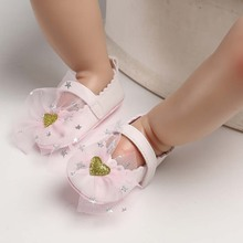 купить Sweet Baby Girl First Shoes Newborn PU Leather Crib Shoe Fashion Toddler Mary Jane Butterfly Knot Prewalker Infant Babe Footwear дешево