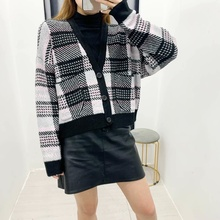 цена на Knitted Sweater Plaid Cardigan Women Long Knitted Jacket Thick Warm Plaid Cardigan Knit Sweater Coat Top