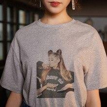Verano 2020 camiseta de mujer de Color sólido con estampado Ariana Grande estilo coreano Kawaii Vintage cómoda de manga corta con cuello redondo gris