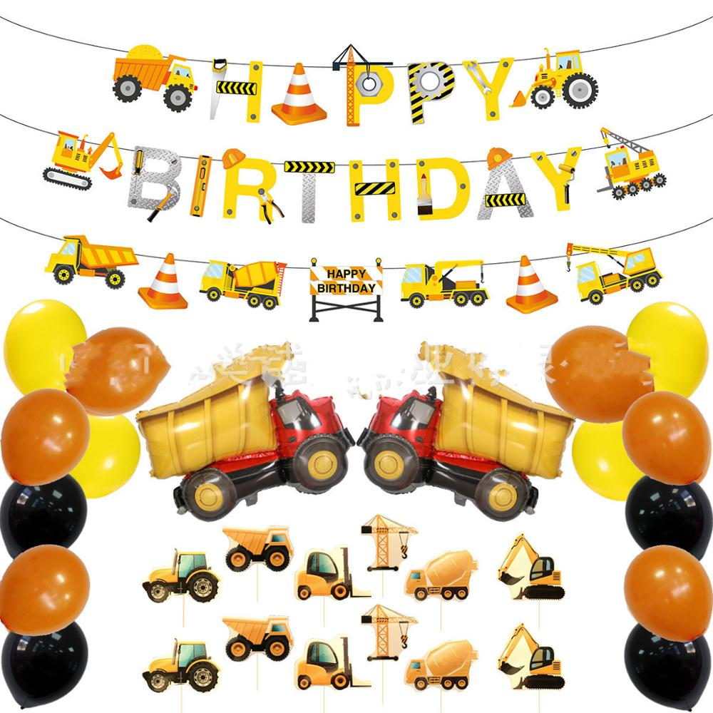 Baby Party Decorations Set Construction Truck Theme Newborn Baby Boys Birthday Party Kids Boys Party Decorations