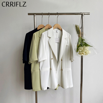 CRRIFLZ 2020 New Summer Half Sleeve Blazer Coat Women Double Breasted Cotton Casual Notched Solid Suit Coat star same style loose casual open style casual heavy pants suit commuter 2019 notched double breasted jacket women coat