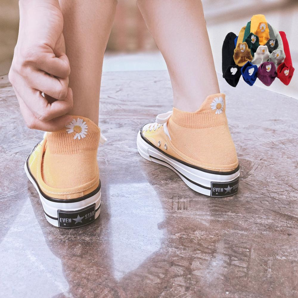 5 Pack Lot Set Pair Ankle Short Cotton Women Socks Summer Korean Style Daisy Kawaii Beautiful Happy Heelpiece Fashion Socks