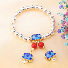 цены 925 Sterling Silver Handmade Bracelet Lady's Simple Creative Cloisonne Flower Silver Ornamental Ball Bracelet Accessories