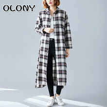 Chalaza Easy Long Sleeve Lattice Shirt Skirt Will Code Suit-dress Fat Mm Age Shading Overknee Dress 2019 Autumn Clothing(China)