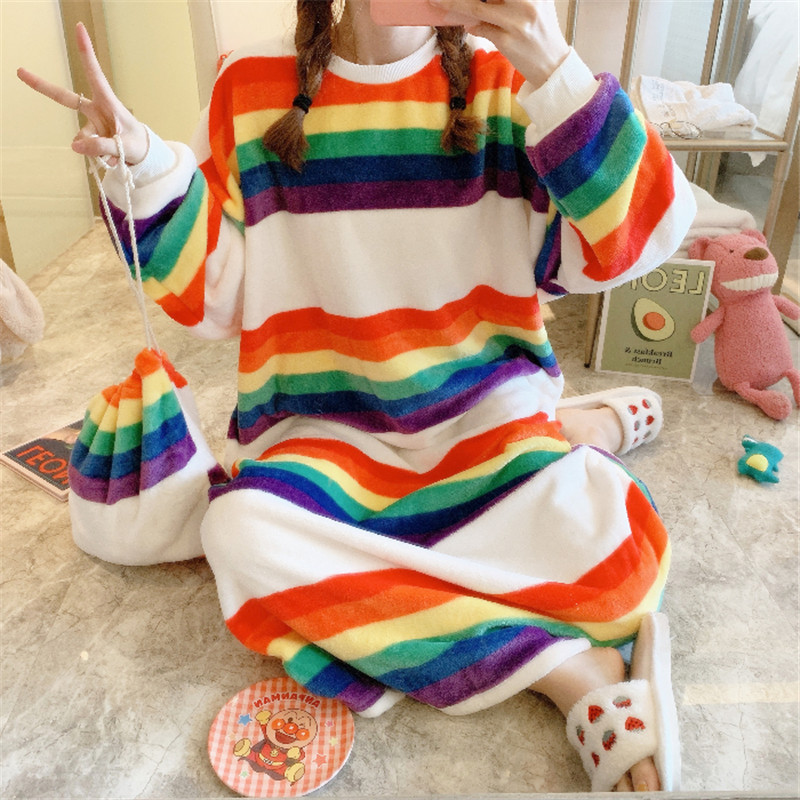 2 Pieces Women's Pajamas Set Winter Pajamas Colorful Striped Rainbow Long Sleeve Cute Pajamas Comfortable Casual Home Wear