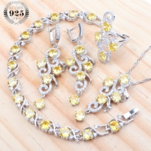 Zirconia 2019 Bridal Jewelry Sets For Women 925 Sterling Silver Wedding Jewelry Earrings Bracelets Rings Necklace Set Gift Box