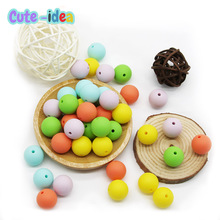 Silicone Beads Pacifier Teething-Chain Pearl Soft-Chewable Bpa-Free 12mm Cute-Idea Round