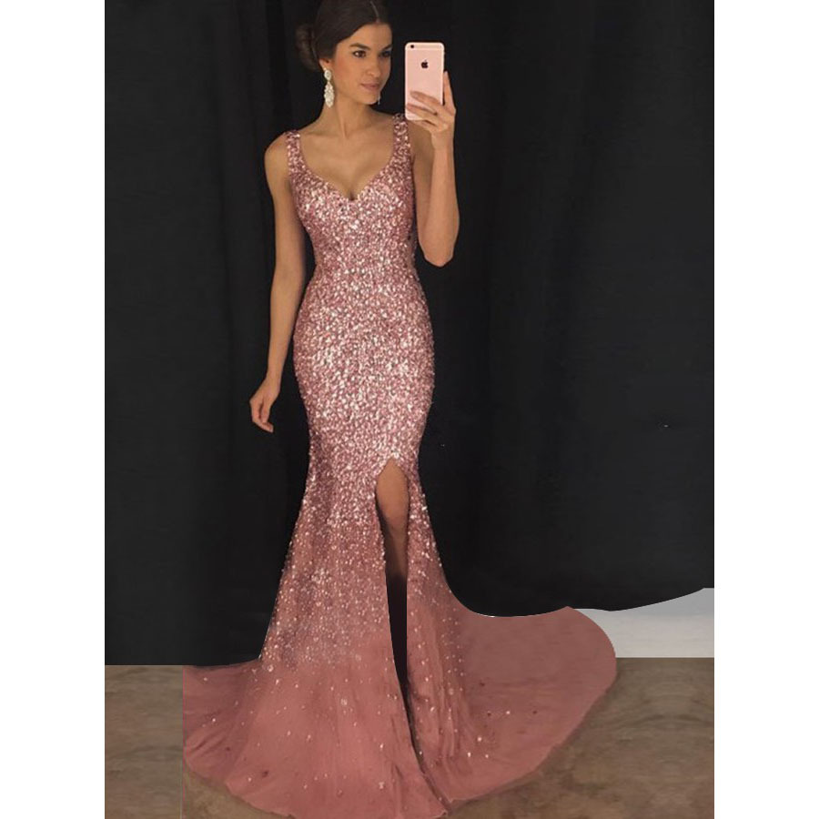 2019 Europe And America Evening Gown WOMEN'S Dress New Style Dinner Sequin Strapped Dress Long Skirts