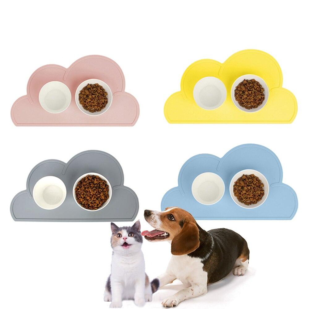 Pad Placemat Feeding-Mat Washing-Bowl Pet-Supplies Food Cloud-Shape Waterproof Silicone