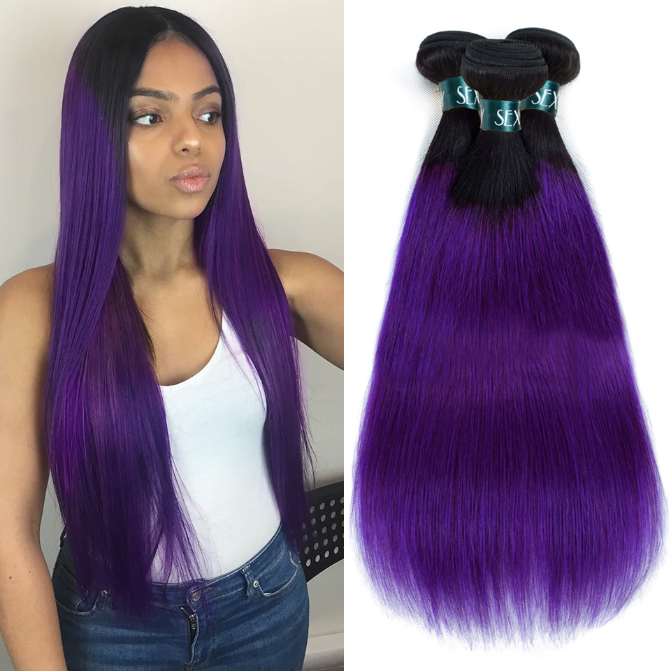 SEXAY Purple Ombre Hair Bundles 3/4pcs One Pack Remy Human Hair Weaving Pre-Colored Dream Purple Brazilian Straight Hair Bundles