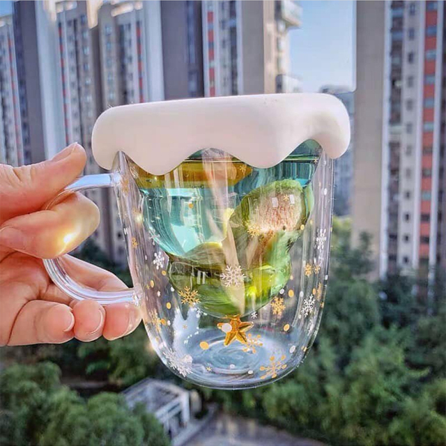 300 ML Creative Christmas Tree Glass Cup Heat-resistant Double Wall Glass Cup Coffee Mug with Lid Cute Christmas Gifts for Girls 1