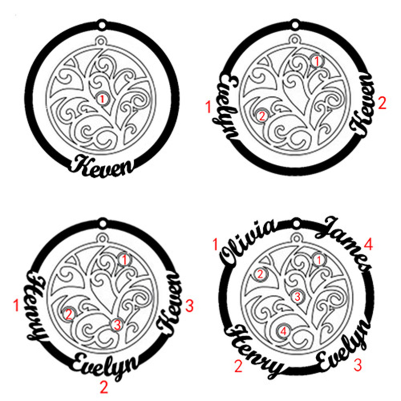 personalized Custom family tree of life pendant womens necklaces jewelry up to 4 stones and 4 names plated silver chain women in Pendant Necklaces from Jewelry Accessories