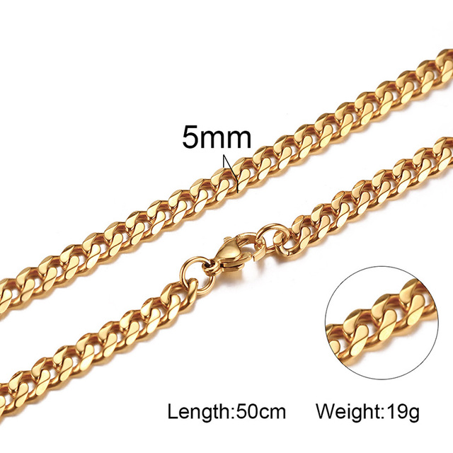 Vnox Basic Punk Stainless Steel Necklace for Men Women Curb Cuban Link Chain Chokers Vintage Black Gold Tone Solid Metal 4