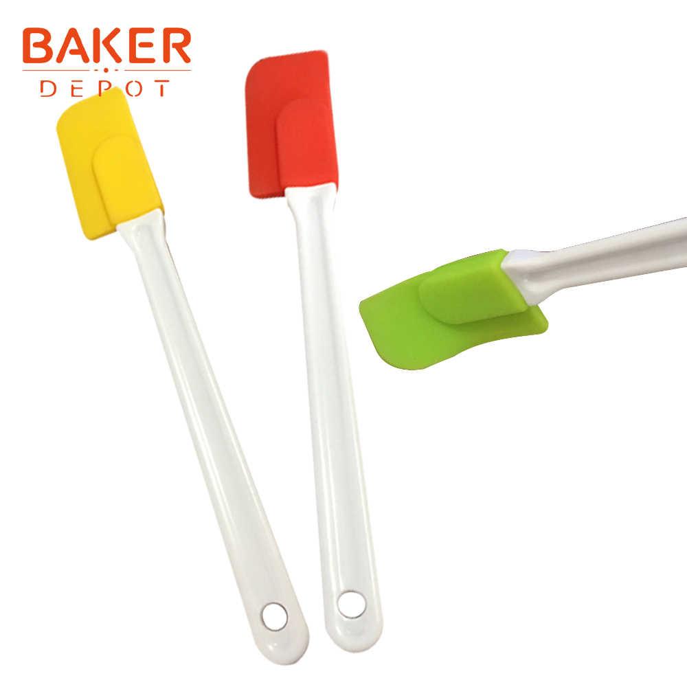 BEKER DEPOT crema raschiando coltello molle del silicone raschietto testa pane silicone spatole cottura della torta della pasticceria spatola maniglia di cristallo