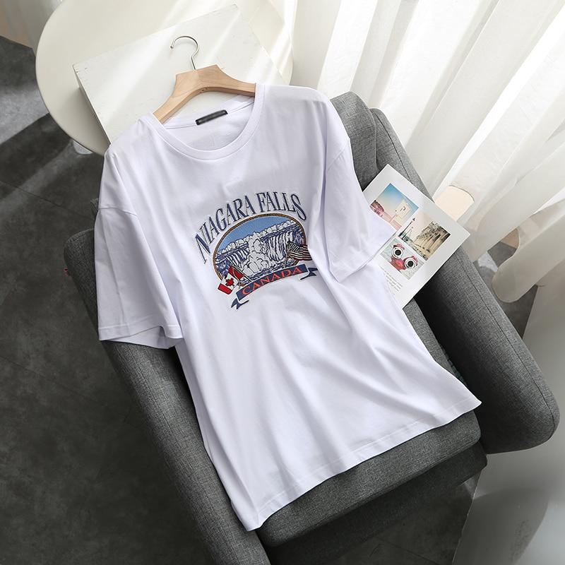 Casual girls oversize cotton shirts 2020 summer fashion ladies soft loose shirt elegant women chic embroidered blouse female
