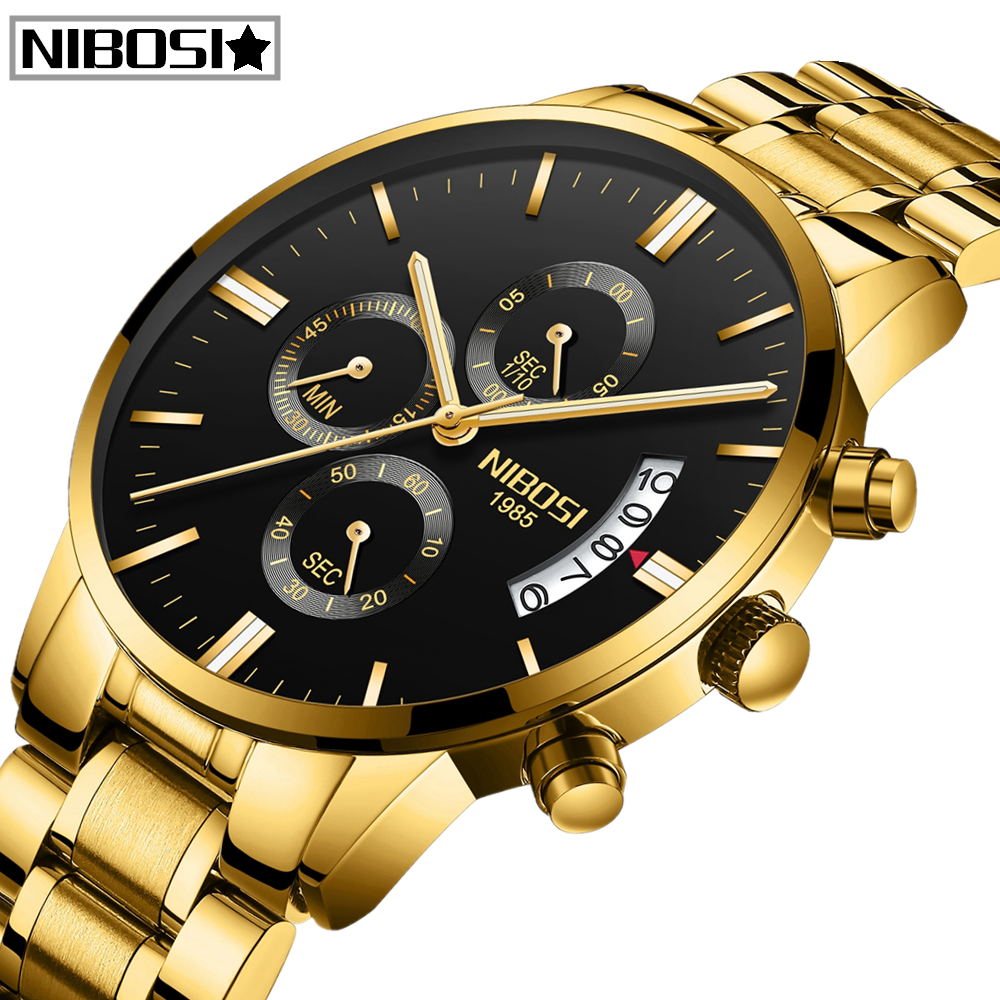 NIBOSI Relogio Masculino Men Watches Top Brand Luxury Famous Men's Fashion Casual Dress Watch Military Quartz Wristwatches Saat-in Quartz Watches from Watches