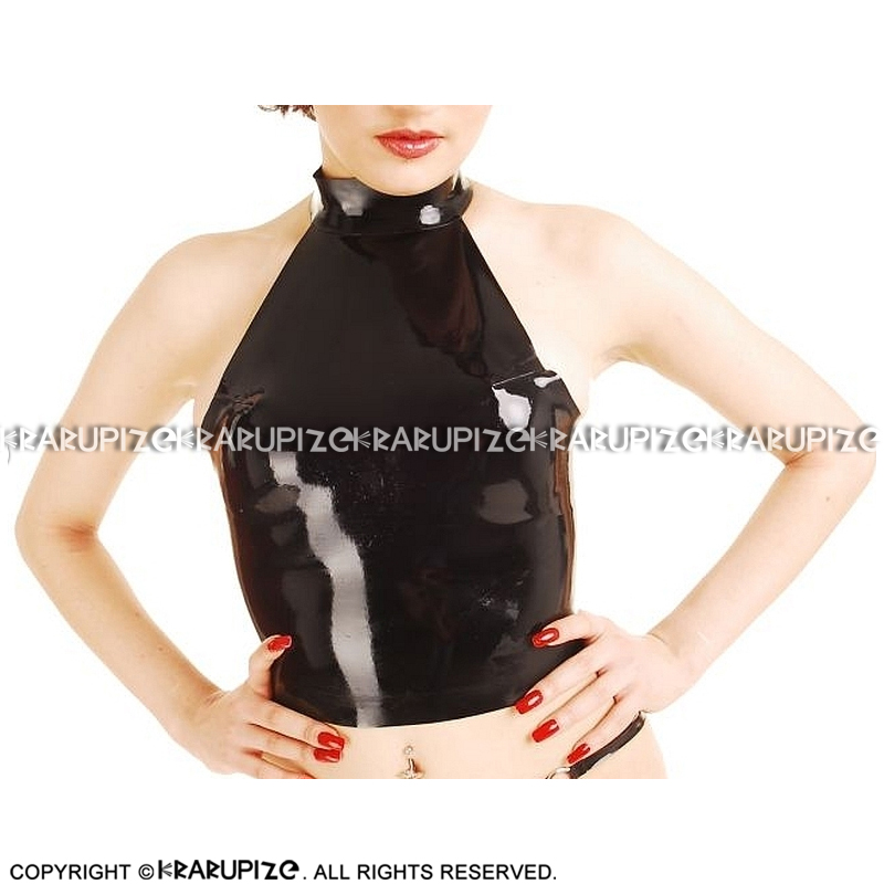 Black Sexy Latex Crop Top With Buttons At Back Rubber Shirt Clothes YF-0191