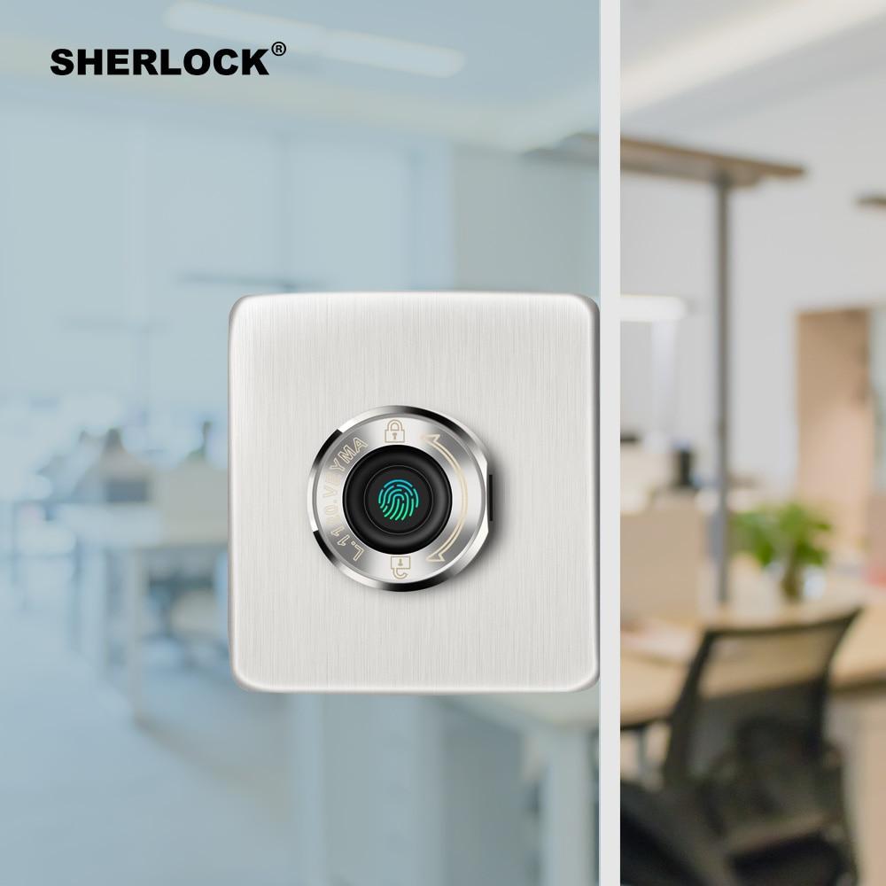 Smart Fingerprint Door Lock For Office Frameless Glass Door Keyless Electric Integrated Lock USB Rechargeable Security Lock F-16