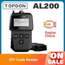 TOPDON AL200 OBD2 סורק רכב OBDII כלי אבחון אוטומטי קוד תקלת קורא קוד לקרוא מנוע לבדוק ערפיח מבחן לכבות IML