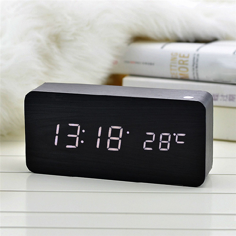LED Wooden Alarm Clock Watch Table Voice Control Digital Wood Clock Electronic Desktop Clocks Table Decor USB/AAA Powered(China)