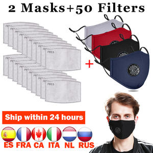 Fashion Mask PM2.5-FILTER Bacteria Washable Cotton Anti-Dust 2PCS Proof