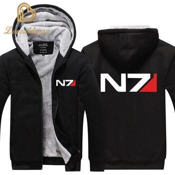 EU size Men Mass Effect N7 Zipper Jacket Sweatshirts Thicken Hoodie Coat Casual sweatshirts men fashion hoodie streetwear