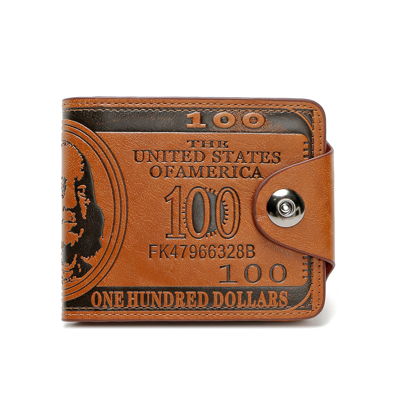 Wallet Purses Short Dollars Vintage Magnetic American Male Men's Buckle Hundred
