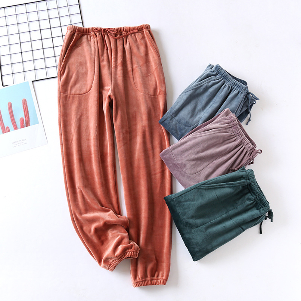 Little Big Kids Pajamas Pants Solid Color Soft Winter Cotton Sleep Bottom Plush Trousers for Boys and Girls
