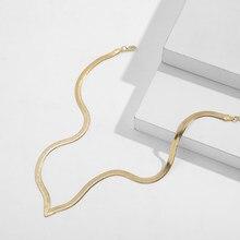 Nueva moda de la clavícula hoja diseño V gargantilla collar de Gargantilla para mujeres declaración Color oro cadena víbora collar joyería Simple