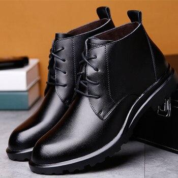 Merkmak caliente de los hombres de cuero genuino botas de invierno Gran Size38-49 tobillo botas de encaje de los hombres cómodos antideslizante hombre Botas de nieve de piel
