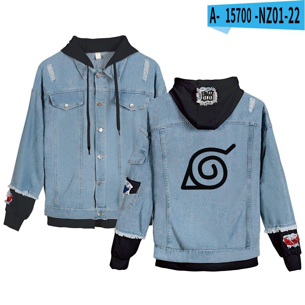 2021 New Denim Single-Breasted Hoodie Jacket Sasuke/Kakashi Denim top Men/womens Hooded Coat Streetwear Akatsuki tops Oversized