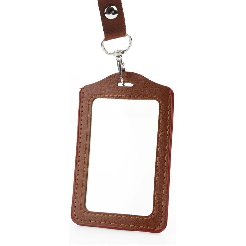 Fashion ID Card Holder Badge Business Work Lanyard Pu Leather High Quality Name Tag Cover Card Case Keeper Badges