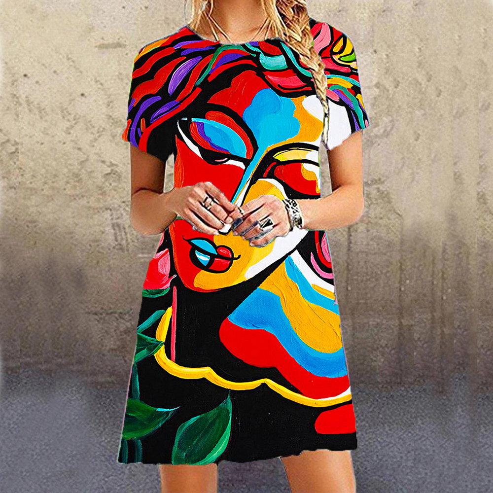 2020 Fashion Women Casual Dress New Design Abstract Face Print Women Dresses Beach Party Holiday Elegant Slim Street Dress|Dresses| - AliExpress