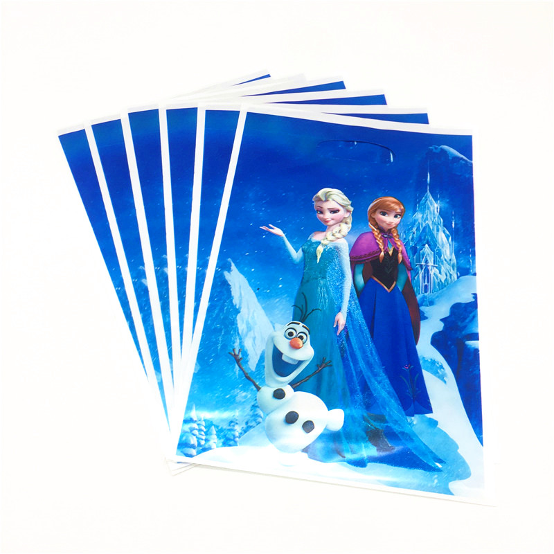 10pcs 16.5*25cm Plastic Gift Bag Frozen Princess Olaf Elsa Loot Bag Kid Boy Birthday Party Supplies Cartoon Theme Decorations