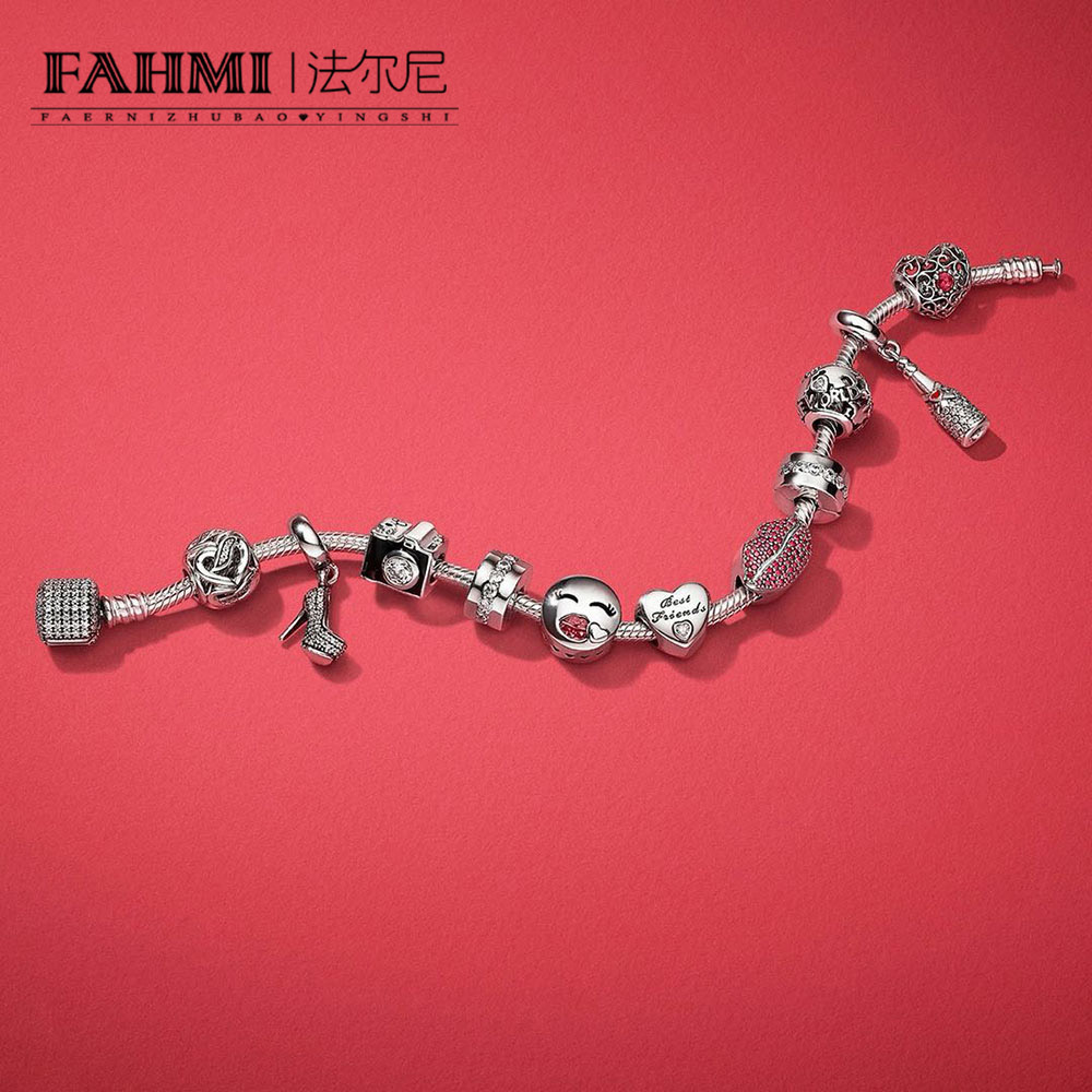 FAHMI 100% 925 Sterling Silver KISS MORE CHARM Heart-shaped Bead CHAMPAGNE Heels HANGING CHARM Valentine's Day Gift Bracelet Set