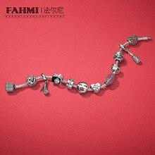 Fahmi 100% 925 prata esterlina beijo mais charme em forma de coração talão champanhe saltos pendurado charme dia dos namorados presente pulseira conjunto