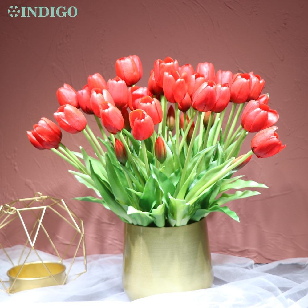 Índigo-(3 flores + 2 brotes) ramo de tulipán rojo tacto Real de silicona tulipán de alta calidad decoración Artificial para el hogar flor envío gratis Vintage Tulip forma carillón de viento japonés campana colgante Feng Shui de hierro de jardín de casa ventana Cafe Bar decoración colgante de pared-