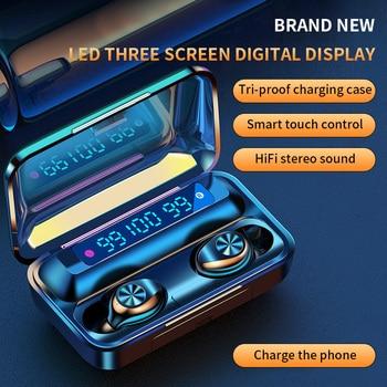 F9 Bluetooth 5.0 Earphone Handsfree Wireless Headset TWS Earphones Earbuds Sports with Lanyard Smart
