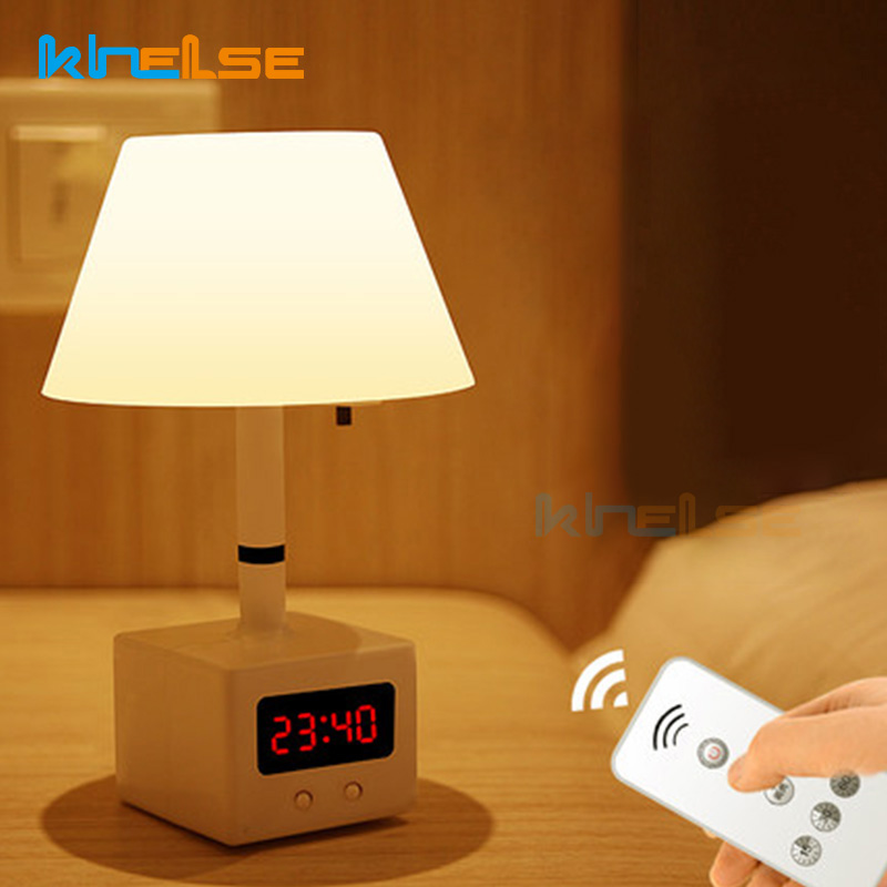 Modern LED Rechargable Clock Night Light Remote Control Eye Protection Table Lamp Bedroom Bedside Baby Feeding Home Light Fixtur