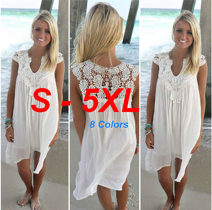 Sexy  Bikini Covers Ups For Women Plus Size  5XL Beach Swimwear Fishnet Crochet Lace Dress Stitching Chiffon Flower Ouc035