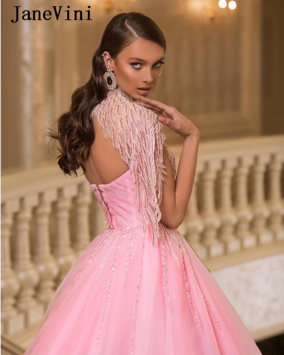 JaneVini Charming Pink Princess Long Quinceanera Dresses Ball Gown One Shoulder Sequins Beading O-Neck Tulle Puffy Vestido De 15