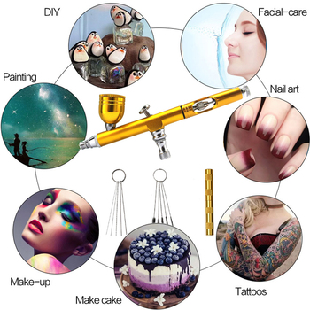 7ml 0.3mm Nozzle Airbrush With 11pcs Cleaning Tools Dual Action Gravity Spray Gun For Art Paint Tattoo Nail Cake Decorating 5