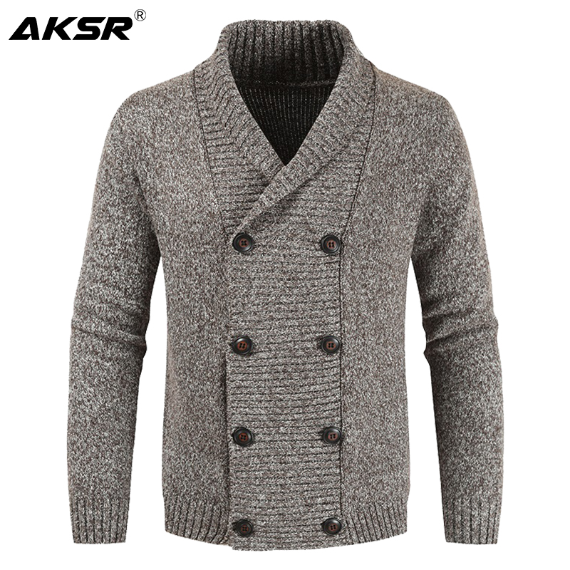 AKSR Men's Winter Wool Cardigan Sweater Double Breasted Cashmere V Neck Sweater Men Large Size Long Cardigan Men Pull Homme 2019