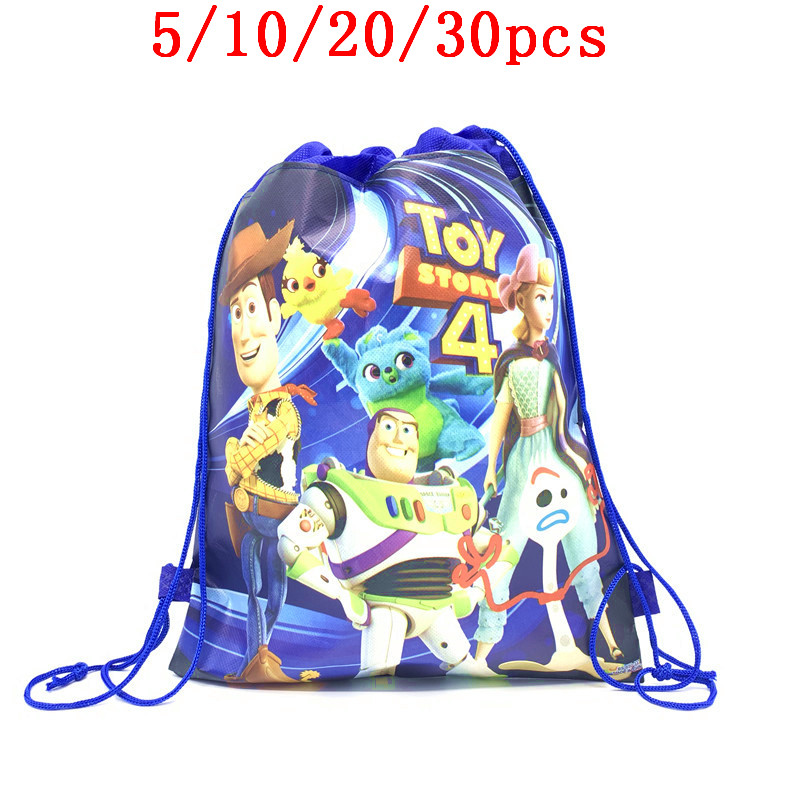 5/10/20/30PCS New Toy Story 4 Drawstring Bags Non-Woven Fabric Backpack Bag Woody Decoration For Baby Favors Party Supplies