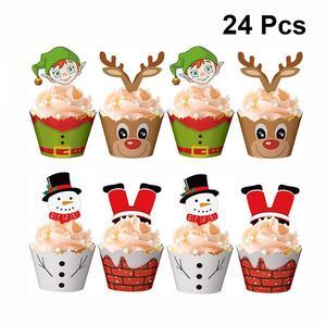24 шт рождественские обертки для пирожных топперы для тортов, украшение для чашки обертки для пирожных и тортов набор (12 оберток + 12 топперов)