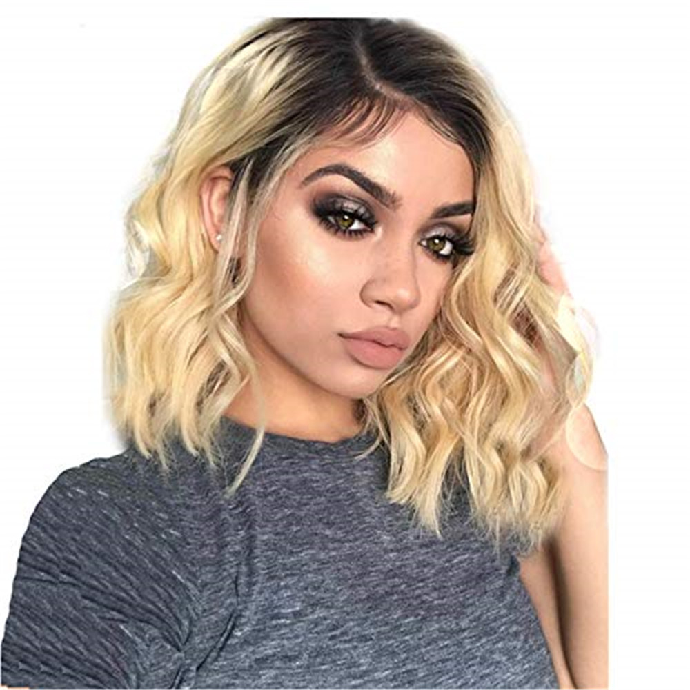 13x6 Deep Part Lace Wig 1B613 Human Hair Wig With Baby Hair Short Bob Ombre Blonde Lace Front Wigs Bleached Knots Glueless Wig