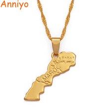 Anniyo Maroc карта кулон ожерелье золотого цвета модные украшения для женщин/мужчин карта Марокко#200610