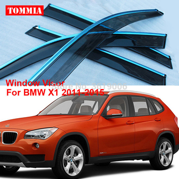 tommia Brand New For BMW X1 2011-2015 Window Visor Shade Vent Wind Rain Deflector Guards Cover 4pcs/Set