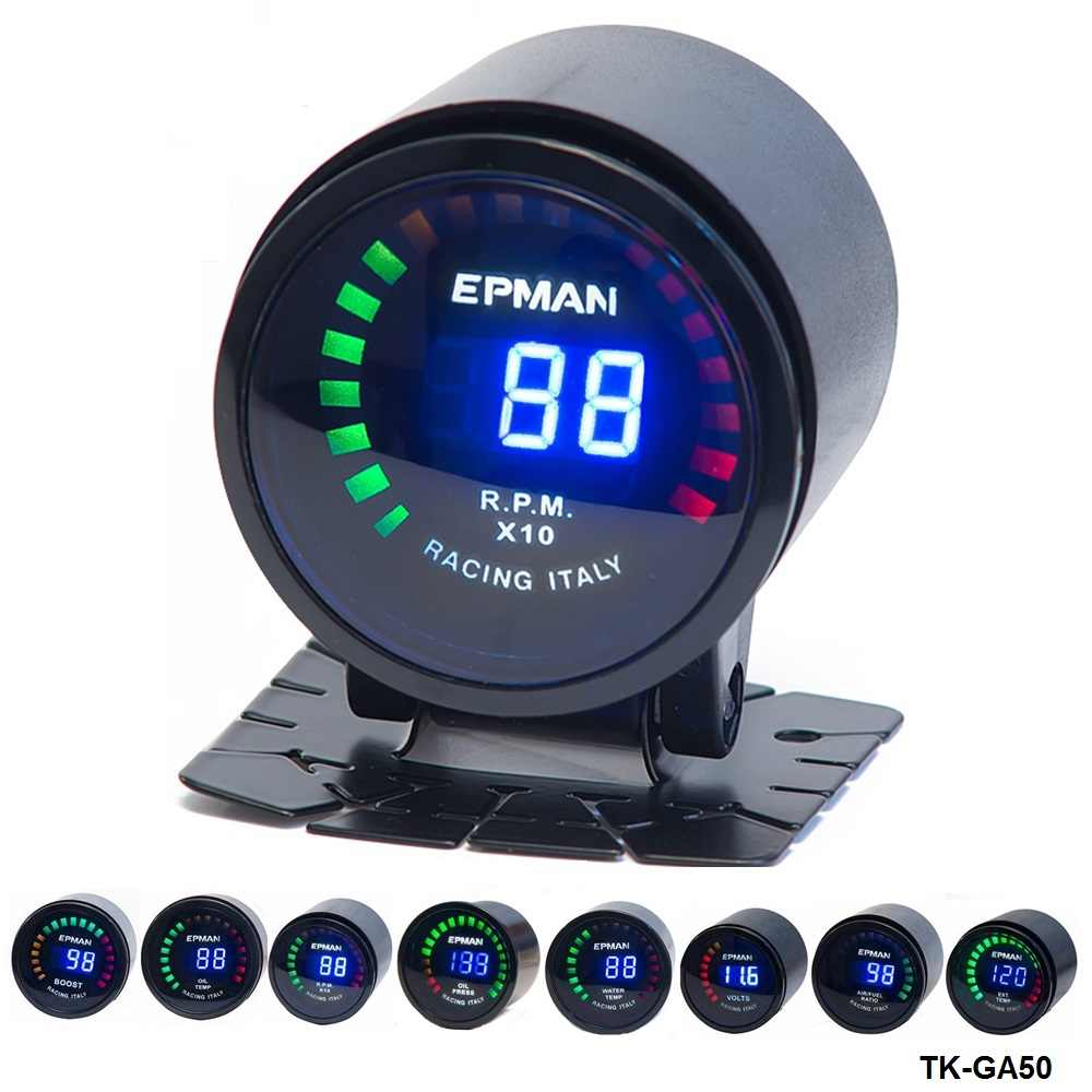 "2/"" 52mm Car Universal LED Digital Oil Press Gas Temp Volt Alarm Gauge Black"